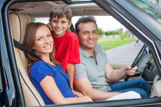 family with car